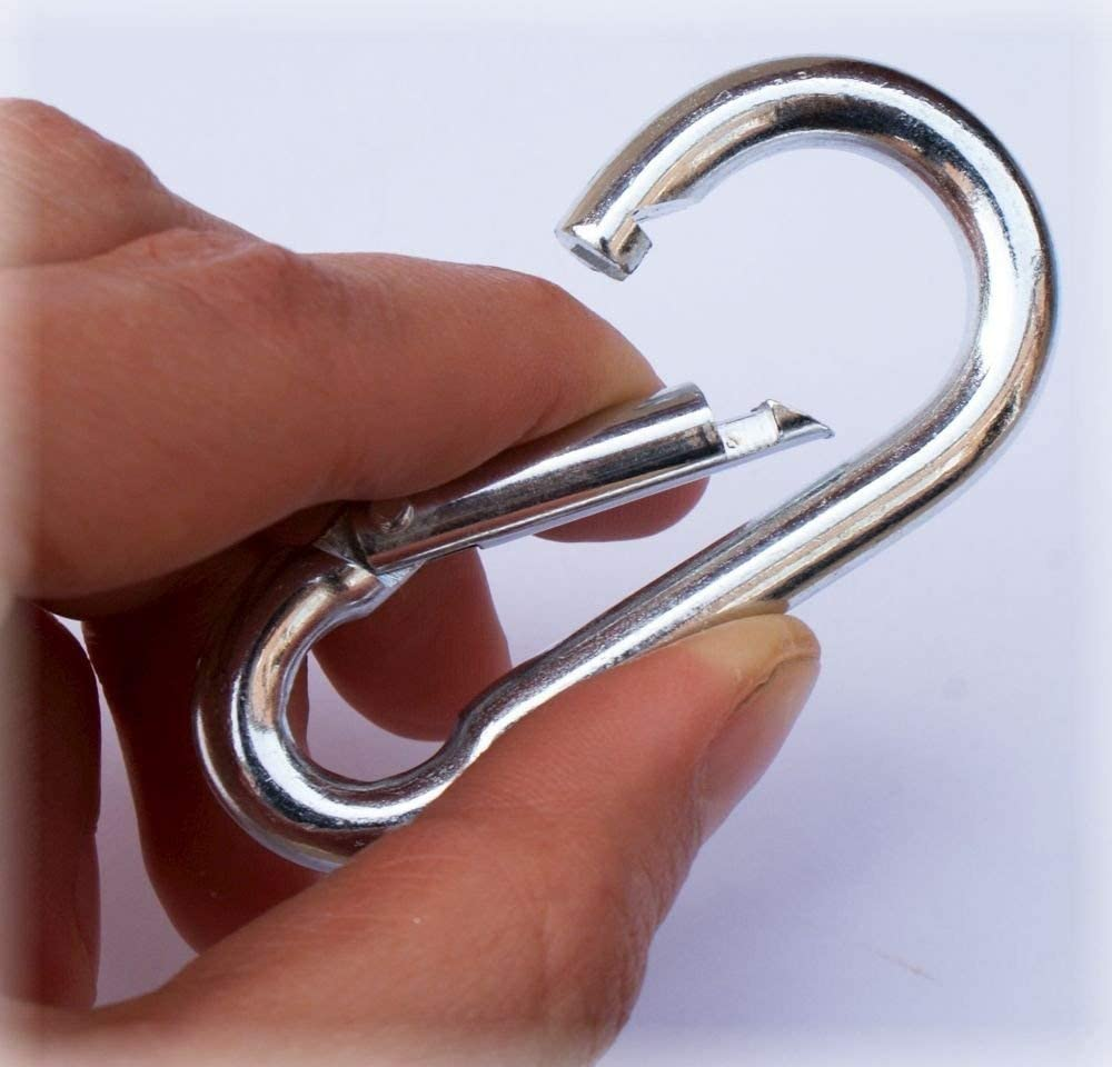 Galvanised Carabiner Snap Spring Clip Hook Karabiner Locking Carabina ALL SIZES