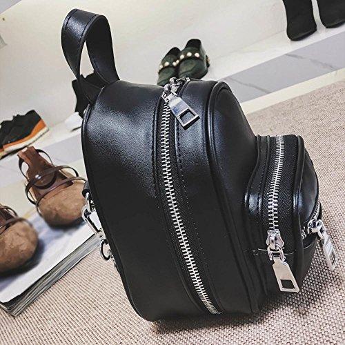 Bag Bag Color Bag Fashion Pure Black Leather Zipper Black Travel Crossbody Muium Women Shoulder Girls Chest wfqUUY