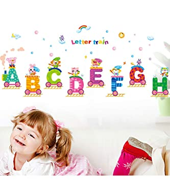 Amazon Com Viewhuge A H Letters Train Wall Decal Stickers