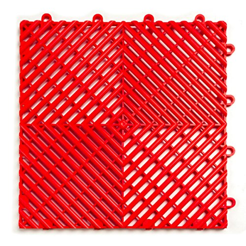 RaceDeck Free-Flow Open Rib Design, Durable Interlocking Modular Garage Flooring Tile (12 Pack), Red