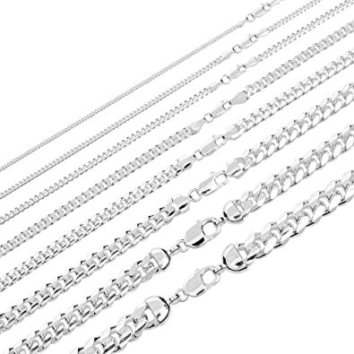 3f39bddcbc740 Solid 925 Sterling Silver Miami Cuban Link Chain - 2-12mm 18-30