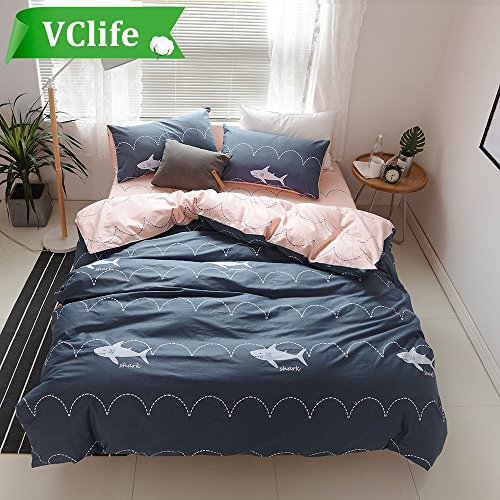 VClife Twin Bedding Sets Navy Shark Printed Bedding Duvet Cover Sets Comfortable Pink Duvet Cover Sets for All Seasons, 100% Pure Cotton, Great Gift for Any Occasions (1 Duvet Cover & 2 Pillowcases)