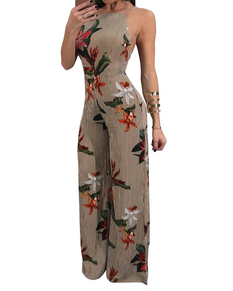 Bbalizko Womens Jumpsuits Spaghetti Strap Backless Floral Print Wide Leg High Waist Romper Pants (Large, Apricot)