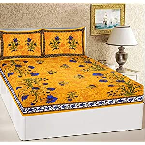 RajasthaniKart® Comfort Rajasthani Jaipuri Traditional Sanganeri Print 144 TC Cotton Double Size Bedsheet with 2 Pillow…