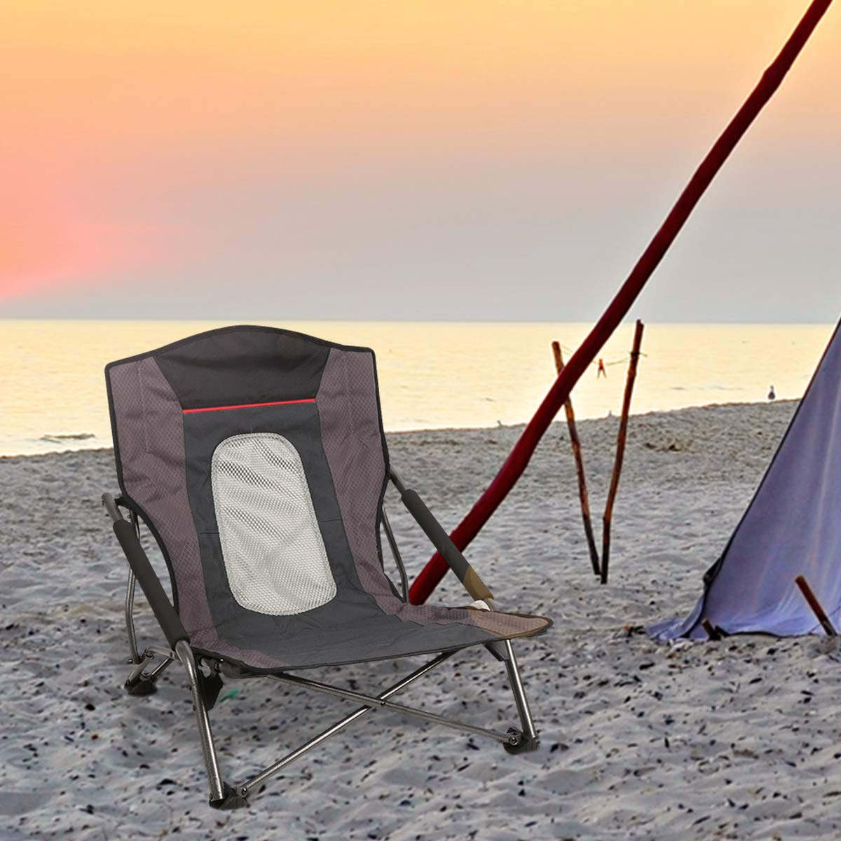 PORTAL Low Beach Camp Chair Folding Compact Picnic Concert Festival Chair with Carry Bag