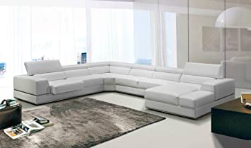 Amazon.com: Divani Casa Pella Modern White Bonded Leather ...