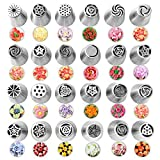 24Pcs Russian Piping Tips for Cake Baking Supplies, Professional Stainless Steel DIY Icing Tip Set Tools with Large Size, Cake Decorating Tips