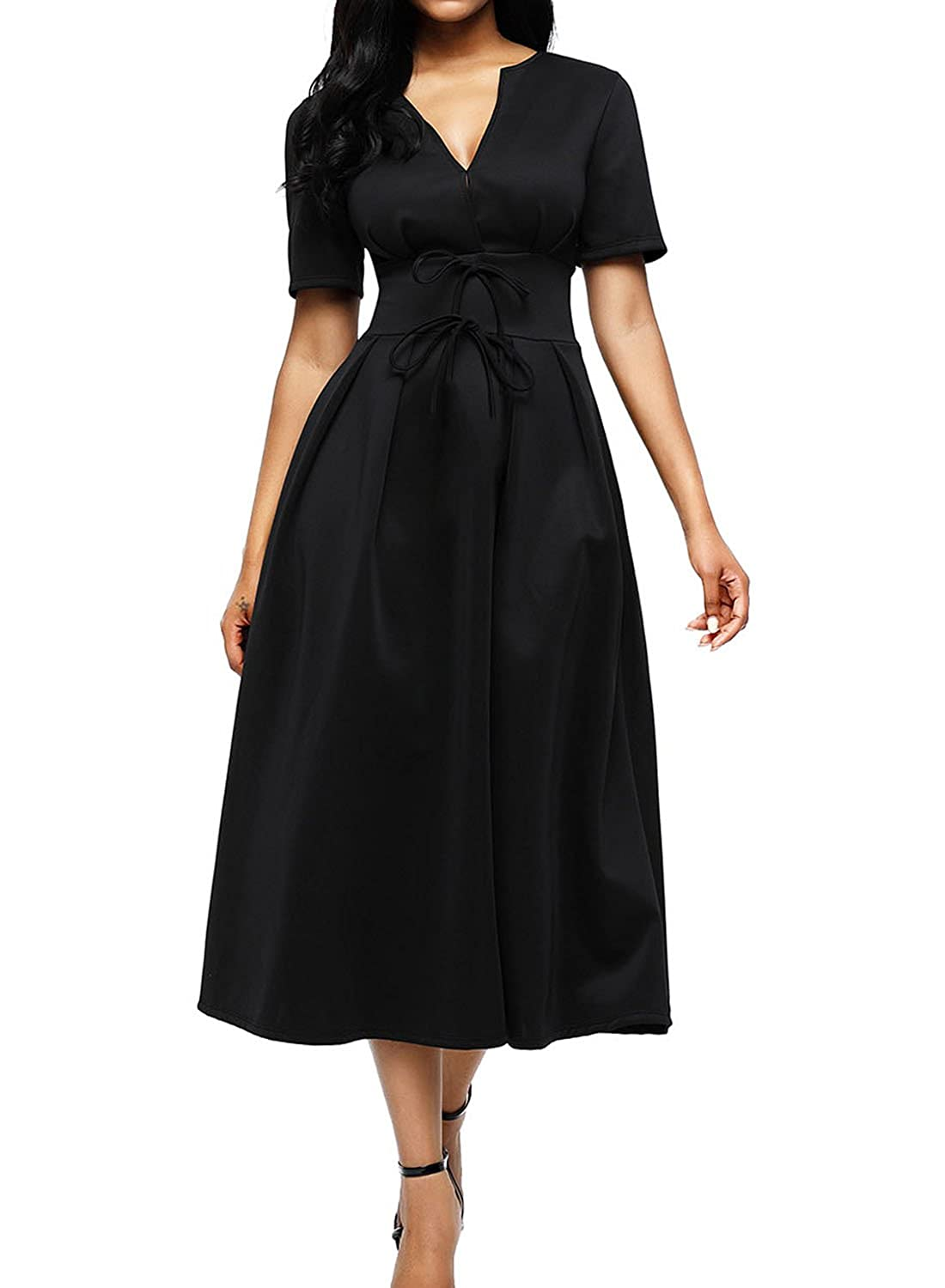 eb37e98a45 Elegant bodycon midi flared dresses. Body-flattering with split neckline  and floating skirt. A split v cut neck, short sleeves, high rise and wide  waistband ...