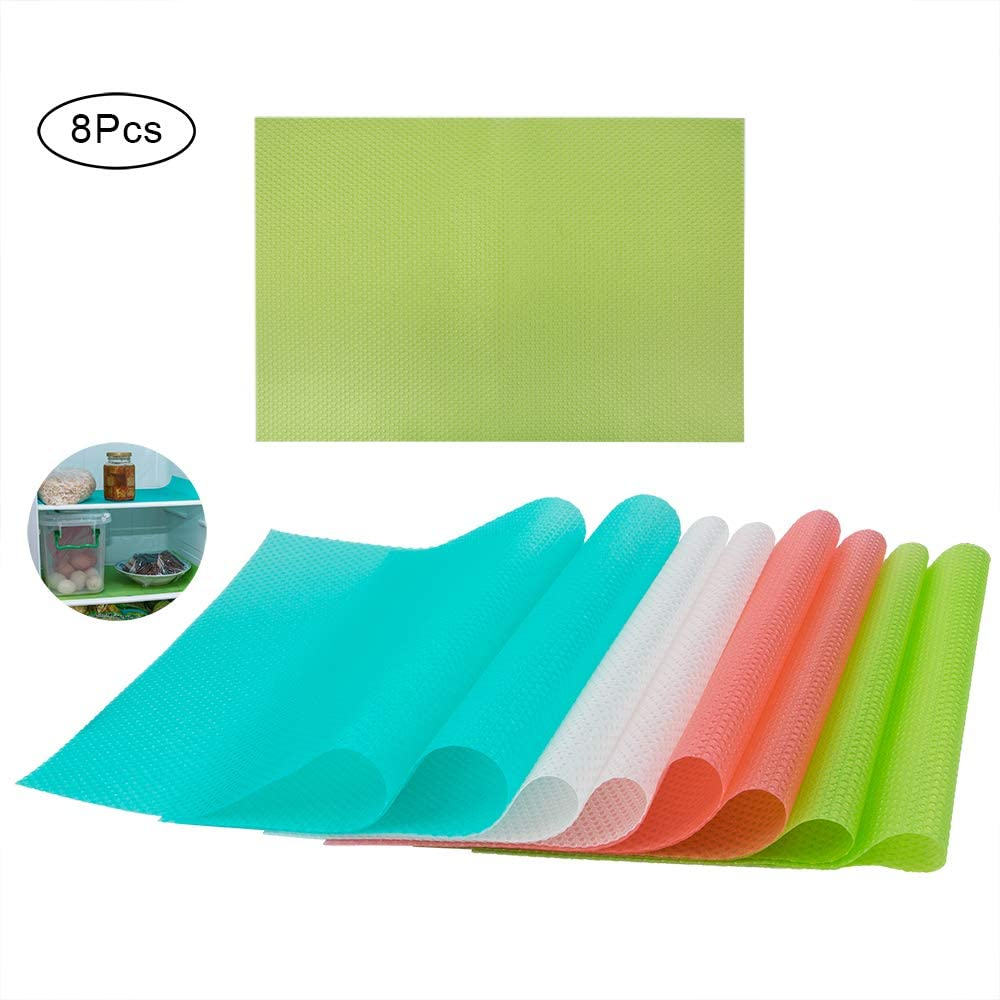"Sonku 8 Pcs Refrigerator Mats Shelf Liners, EVA Washable Can Be Cut Refrigerator Pads Fridge Mats Drawer Table Placemats Shelves Drawer Table Mats Size 17.72""x11.81"",2 Pink/2 Green/2 Blue/2 Clear"