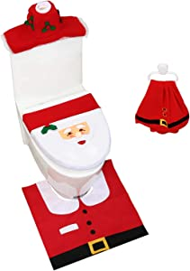 Ohuhu Christmas Santa Toilet Seat Cover, Upgrade 5 PCS Toilet Seat Cover and Rug Set, with Towel and Hanging Hook, Santa Claus Toilet Seat, for Christmas Decorations Bathroom Decor Red