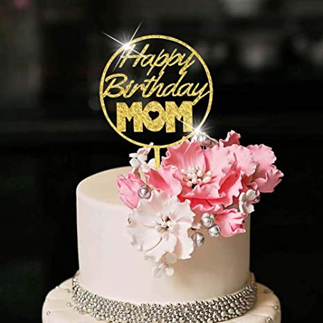 Tremendous Amazon Com Yuinyo Happy Birthday Cake Topper For Mom Party Cake Personalised Birthday Cards Bromeletsinfo