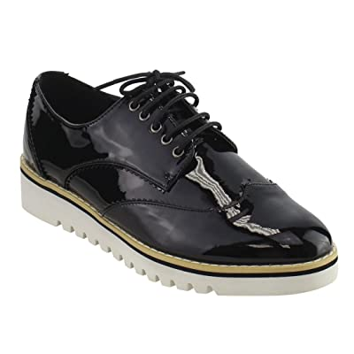 Cape Robbin Women's Fashion Patent Metallic Leather Lace Up Platform Oxford Sneakers Shoes | Oxfords