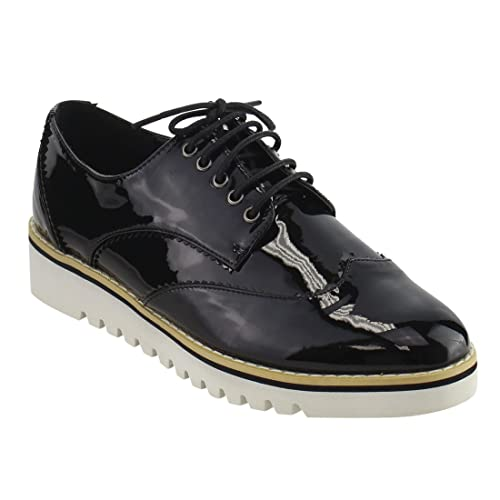 babae69dcb CAPE ROBBIN Women's Fashion Patent Metallic Leather Lugged Sole Flatform Lace  Up Platform Oxford Sneakers Shoes