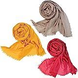 Wobe 3pcs Women Soft Cotton Hemp Scarf Shawl Long Scarves, Travel Sunscreen Pashmina Fancy Stylish Hijab Scarf Lightweight Wa