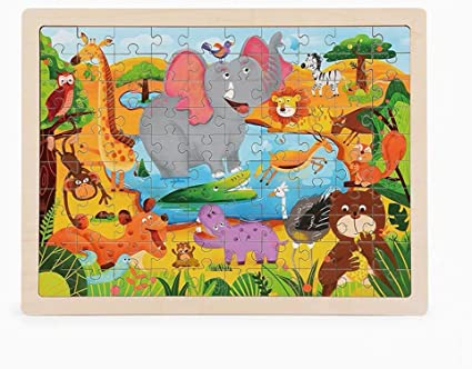 Adeeing 100Pcs/Set Puzzles Board Learning Educational Interesting Wooden Toys for Kids Girls Boys