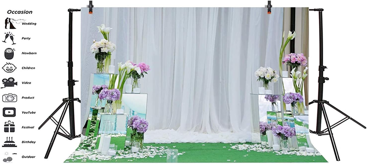 Graceful Wedding Cerebration Photo Booth Backdrop 10x6.5ft Polyester Indoor Purple Flowers Tulips Mirror Stands White Curtain Background Wedding Ceremony Shoot Bridal Shower Bride Groom Shoot