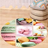 VROSELV Custom carpetColorful Traditional French Desert Macaroons Themed Collage with Coffee Gourmet Sweet Print for Bedroom Living Room Dorm Multicolor Round 72 inches