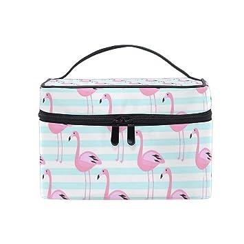96be6fe83300 Amazon.com : Cosmetic Bag Flamingo Pattern Pink Exotic BirdTravel ...
