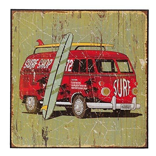 Surf Board Surfing Van envejecido cartel de madera 25 cm x ...