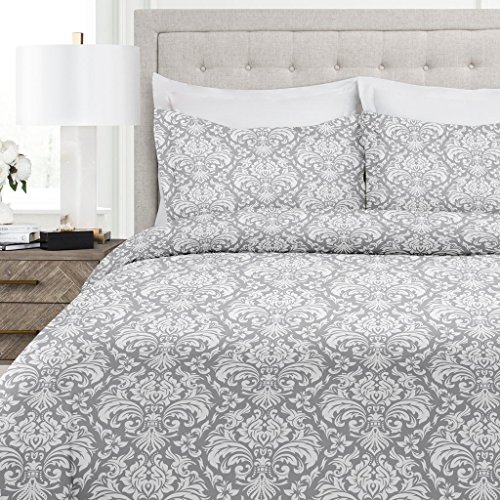 Italian Luxury Damask Pattern Duvet Cover Set - 3-Piece Ultra Soft Double Brushed Microfiber Printed Cover with Shams - King/California King - Light Gray/White