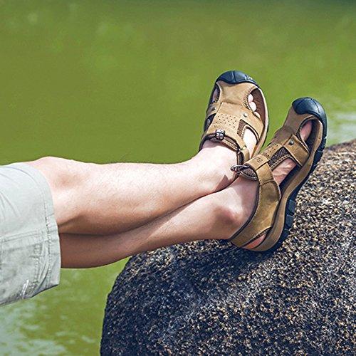 All'aperto Da Chiusi Piscina Scarpe Antiscivolo Estate Alpinismo Casual Romane Khaki L'escursionismo Vera Sandali Scarpe Per Uomo Pelle Spiaggia 7qwnxSdv