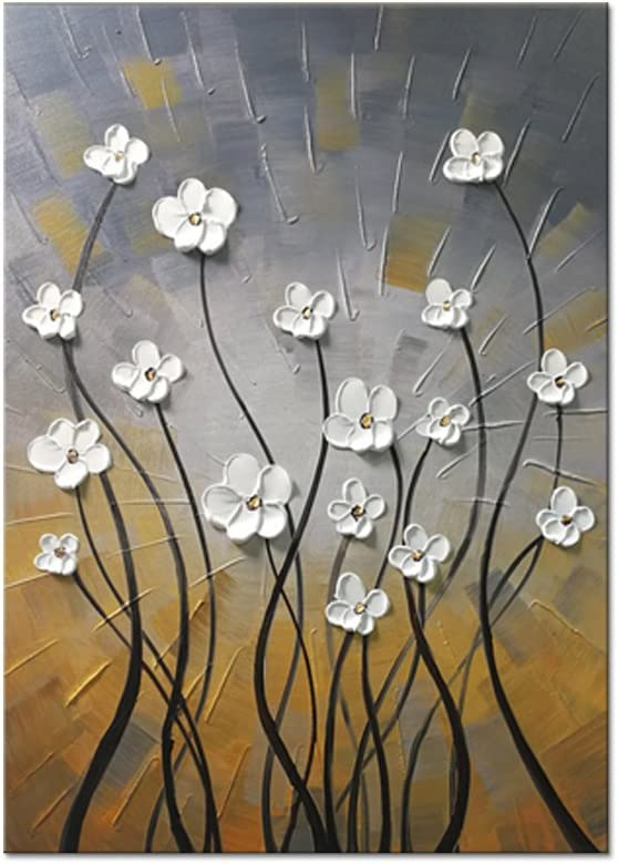 Wieco Art Morning Dancing 100% Hand Painted Oil Paintings Abstract Canvas Wall Art Modern Stretched Flowers Artwork Ready to Hang for Living Room Home Decorations and Wall Decor FL1091-6090
