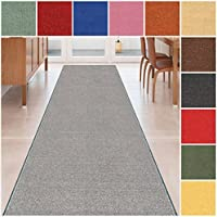 Custom Size GREY Solid Plain Rubber Backed Non-Slip Hallway Stair Runner Rug Carpet 26 inch Wide Choose Your Length 26in X 24ft