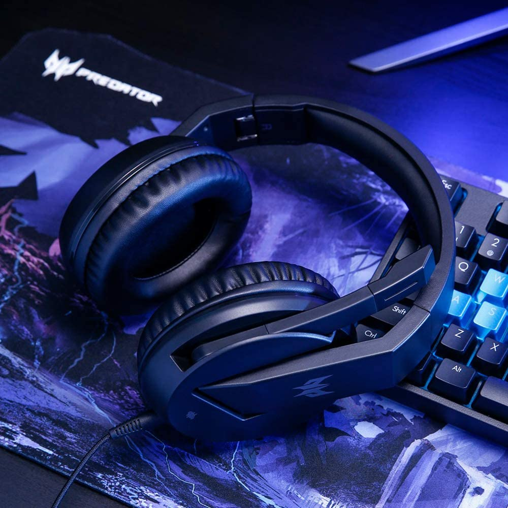On-Cable Controls Acer Predator Galea 350 7.1 Surround Sound Gaming Headset: 50mm Neodymium Drivers Retractable Noise Cancelling Mic Black