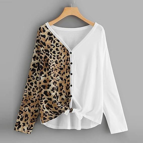Corsion Winter Women Leopard Tunic Tops Casual Patchwork Coat Jacket Outwear Blouse