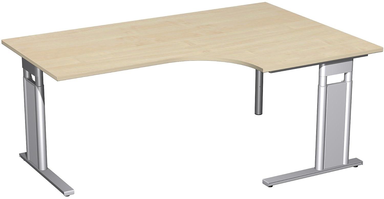 Geramöbel PC-Schreibtisch rechts höhenverstellbar, C Fuß Blende optional, 1800x1200x680-820, Ahorn/Silber