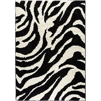 Well Woven Madison Shag Safari Zebra Black Animal Print Area Rug 3'3'' X 5'3''