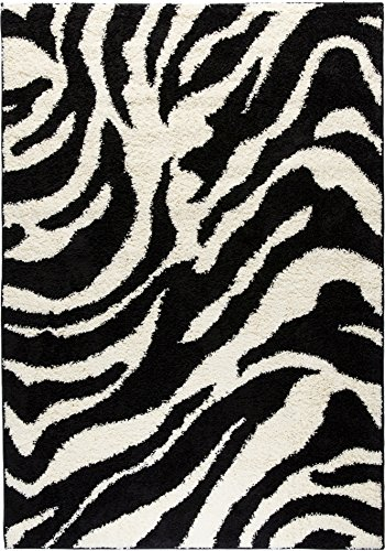 Well Woven Madison Shag Safari Zebra Black Animal Print Area Rug 5' X 7'2''