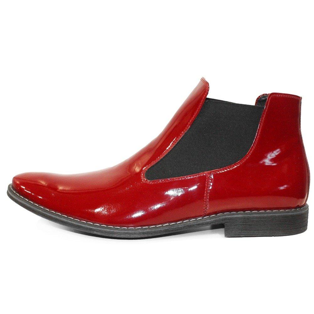 Modello Ruby - Cuero Italiano Hecho A Mano Hombre Piel Rojo Chelsea Botas Botines - Cuero Charol - Ponerse: Amazon.es: Zapatos y complementos