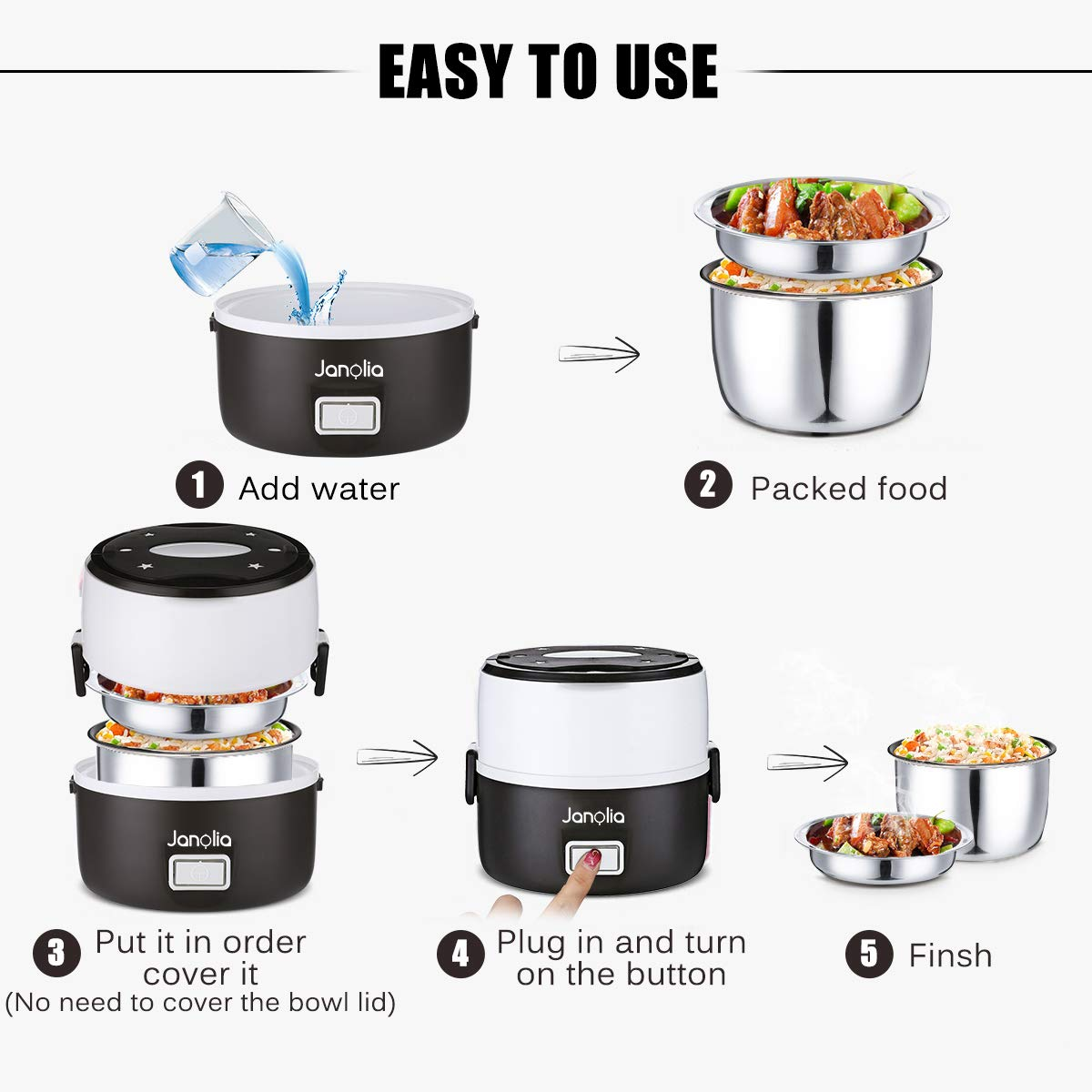 Janolia Electric Food Steamer, Portable Lunch Box Steamer with Stainless Steel Bowls, Measuring Cup by Janolia (Image #5)