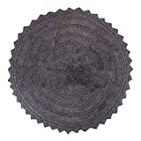 """DII Ultra Soft Spa Cotton Crotchet Round Bath Mat Place in Front of Shower, Vanity, Bath Tub, Sink, and Toilet, 28"""" - Gray"""