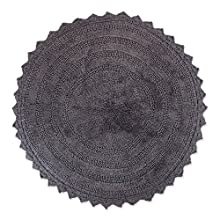 "DII Ultra Soft Spa Cotton Crochet Round Bath Mat or Rug Place in Front of Shower, Vanity, Bath Tub, Sink, and Toilet, 28"" - Gray"
