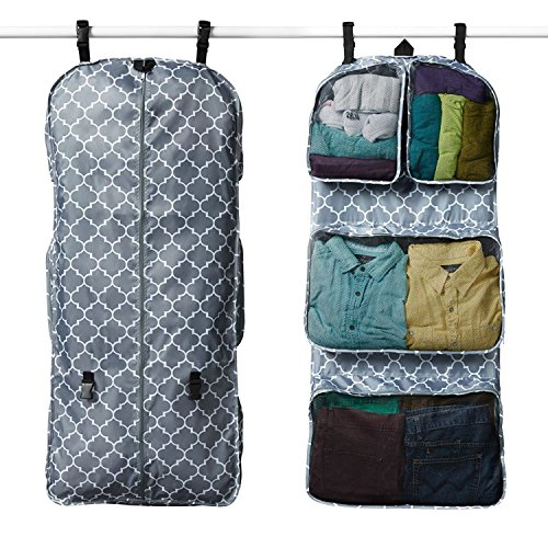 RuMe Tri-fold Garment/Clothing Travel Organizer Bag With Attached Packing Cubes For Clothes And Shoes (Downing) by RuMe