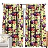 cobeDecor Custom Curtain Eggplant Eggplant Tomato Relish Onion Going Green Eating Organic Tasty Preserve Nature Multicolor Bedroom Balcony Living Room W84 xL84