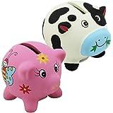 com-four® 2er Set Keramik Spardose Kuh & Schwein