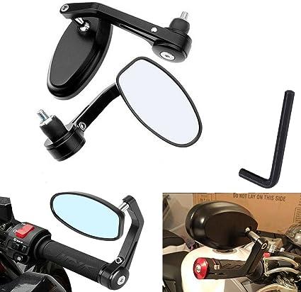 OSAN Retrovisor de Motocicleta Universal Motocicleta Espejos Retro 22 7//8 mm para Manillar de Moto Aluminio CNC de Efecto Espejo Trasero Vista Lateral