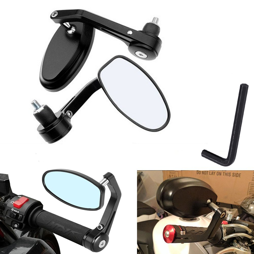 de color plateado y compatibles con Honda de aleaci/ón de aluminio universales Ducati y Suzuki Triumph 2 retrovisores Katur para motocicleta de forma redonda Yamaha para manillares de 22/mm