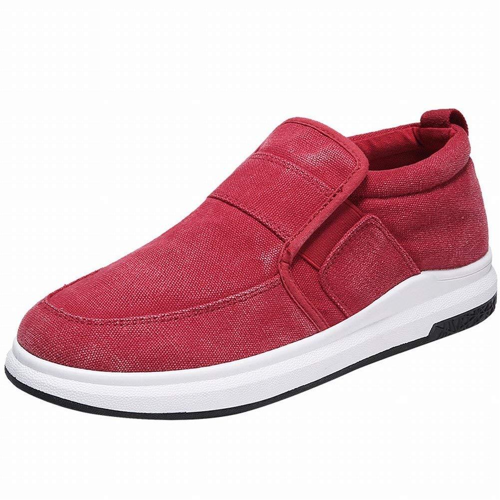 HhGold Art und Weise Segeltuchschuhe Bequeme Breathable Beiläufige Schuhe Belegabnutzungs-Männer Beschuht Allgleiches Flutschuhe (Farbe   Rot Größe   43)