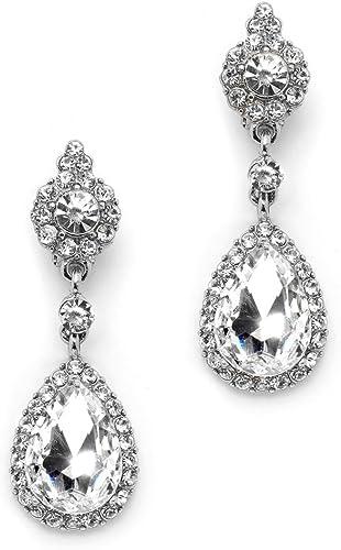 Long Dangle Gold Bridal Clip on Earrings Gold Filigree Teardrop White Crystal Pearl Rhinestone Clip Earrings For Non Pierced Ears Alana Gold