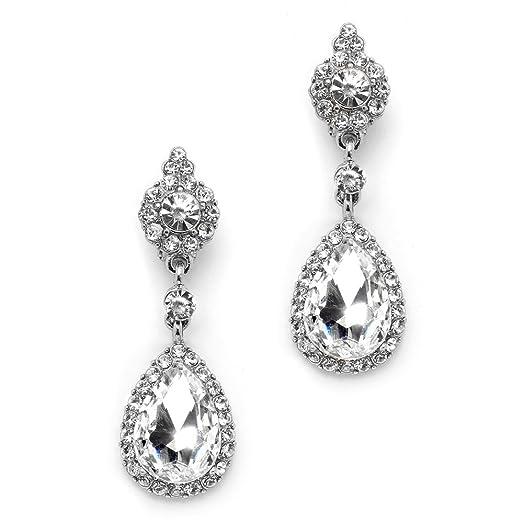 Clip On Earrings Store Long Diamante Crystal Love Heart Drop Clip On Earrings hhBqzx