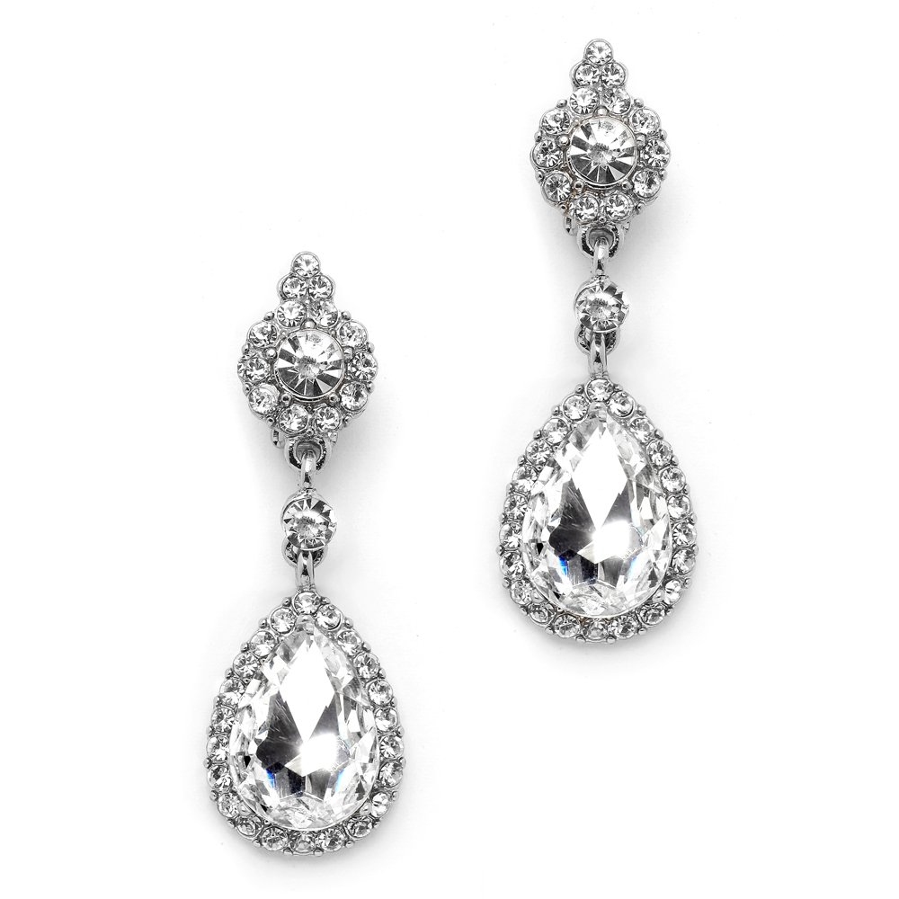 Mariell Clip-On Earrings with Crystal Teardrop Dangles - Silver Chandeliers for Proms and Weddings