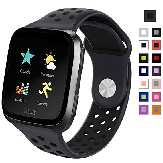 for Fitbit Versa Bands, Silicone Strap Sport Band Replacement Band for Fitbit Versa Fitness Smart Watch Band Accessories Women Men (Gray Black)