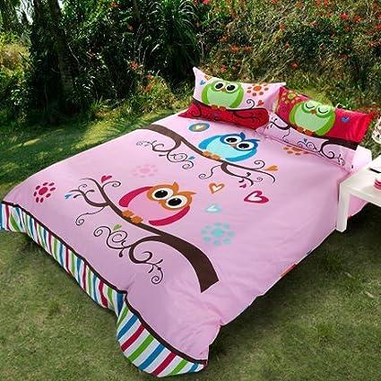 Amazon Com Lelva Cute Owl Bedding Pink Baby Girls Wedding Duvet