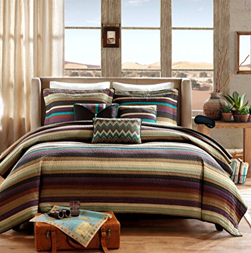 Sedona Life Southwest Turquoise Native American Quilt, Shams, 3 Decorative Pillows + Home Style Exclusive Sleep Mask Lodge Cabin Southwestern Coverlet Bedding Bundle (Queen)