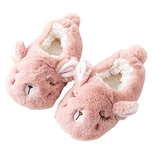 17f314bb740 LQZ Toddler Kids Girls Boys Cute Cartoon Soft Warm Plush Lining Non-Slip Slippers  Winter