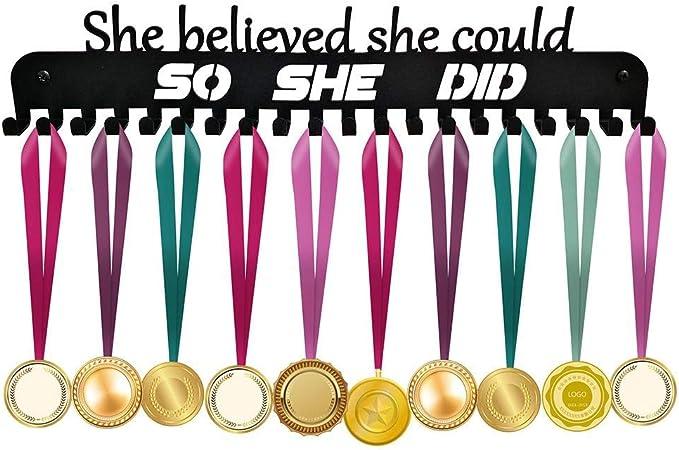 Running Medal Hanger,Marathon Medals Display Rack,Black Sturdy Steel Metal Holder,Wall Mount Over 50 Medals Hanger